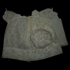 "Vintage Printed Dimity Dress~Bonnet~Slip Set For 20"" Dy-Dee Baby"