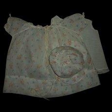 "Vintage Printed Dimity Dress~Bonnet~Slip Set For 20"" Dy-Dee Baby"