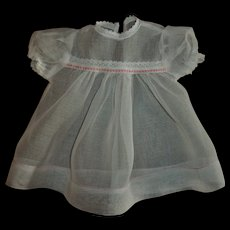 "Vintage Crispy Organdy Factory Baby Doll Dress For 14""-15""  Dolls"