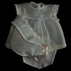 Sweet Vintage Factory Organdy Dress With Bonnet and Panties For Baby Dolls
