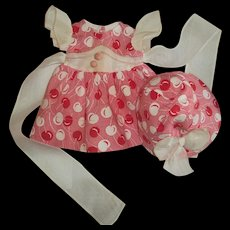 Rare 1930's Ideal Shirley Temple Pompom Dress With Matching Hat