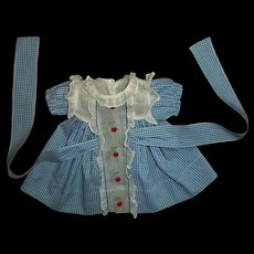 Original 1930s Ideal Shirley Temple Blue & White Cherry Dress