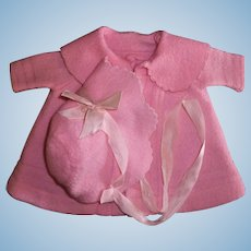 "Adorable Factory Effanbee 13"" Dy-Dee Wool Coat and Bonnet Set"