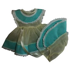 Vintage Yellow and Robin's Egg Blue Ideal Betsy Wetsy Baby Doll Dress With Bonnet