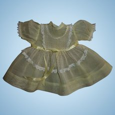 "Vintage Factory Ideal Yellow Organdy Baby Doll Dress Fits 15"" Dy-Dee and Friends"