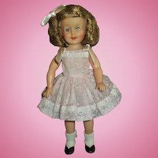 "Vintage Ideal Vinyl 12"" Shirley Temple Wearing Original Flocked  Sundress"