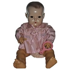 "Gorgeous 20"" Dy-Dee Lou Silk Taffeta Smocked Bed Jacket & Rubber Teether"