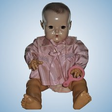 """Gorgeous 20"""" Dy-Dee Lou Silk Taffeta Smocked Bed Jacket & Rubber Teether"""