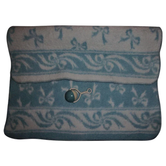 Vintage Effanbee Dy-Dee Blue EIDERDOWN Bow Blanket & RARE Mold 1 Celluloid Rattle