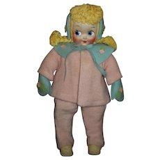 Cute 1940s Molly'es Cloth Doll Wearing Eiderdown Coat & Snow Pants