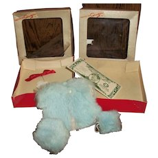 Boxed Cosmopolitan Ginger Dyed Blue Real Rabbit Fur Coat, Hat, Muff & Hair Ribbon With Signature Purse