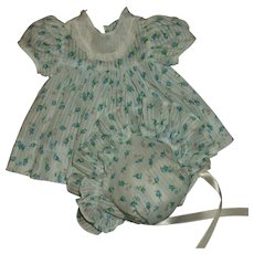 Vintage Effanbee Dy-Dee Jane Blue Rosebud Dimity Dress With Bonnet MINT!!