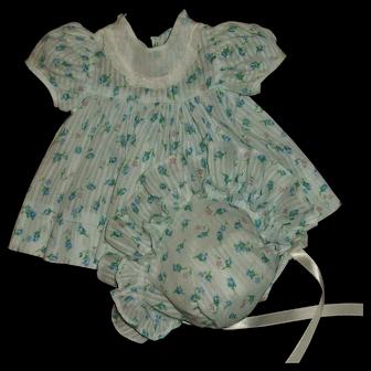 Vintage Effanbee Dy-Dee Jane Blue Rosebud Dimity Dress With Bonnet MINT!!