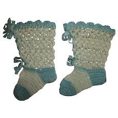 Lovey Vintage Silk-Rayon Blue and Cream Crochet Booties For Your Bisque Babies