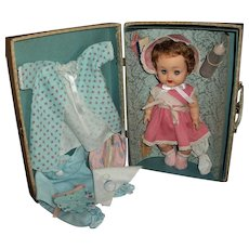 "1950s Ideal 11.5"" Vinyl Betsy Wetsy Near MINT! In Original Case, Clothes, Layette Items & Extras"