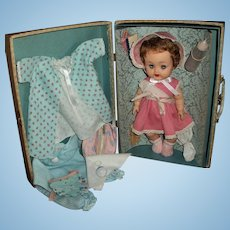 """1950s Ideal 11.5"""" Vinyl Betsy Wetsy Near MINT! In Original Case, Clothes, Layette Items & Extras"""