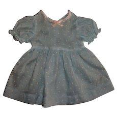 """Vintage Blue Dimity Dress For 20"""" Effanbee Dy-Dee Lou"""