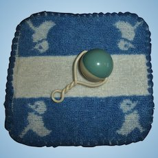 RARE Factory Effanbee Dy-Dee Washcloth and Mold 1 Dy-Dee Celluloid Rattle
