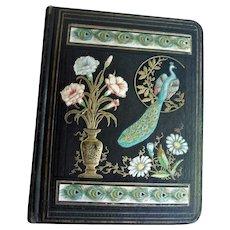 Antique Victorian Scrapbook Peacock Cover Lots of Victorian Scraps Inside