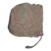RARE Effanbee Mold 1 Dy-Dee Jane Pink Silk Bonnet