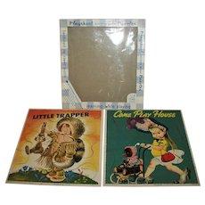 Vintage LGB Pressed Hardboard  Puzzle Boxed Set  Little Trapper & Eloise Wilkin Let's Play House