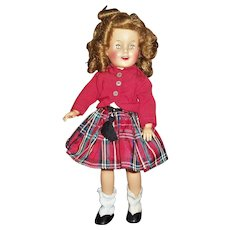 "Vintage Ideal 12"" Vinyl Shirley Temple in Red Wee Willie Winkie Scottish Outfit"