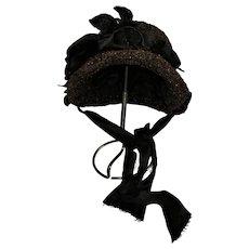 Antique Bonnet 1800s Hat For Large Bisque Doll