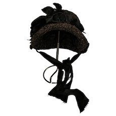 Antique Bonnet Style 1800s Hat For Large Bisque Doll