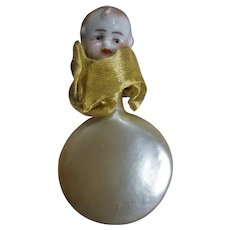 Signed Bisque Baby Head Mother of Pearl Perfume