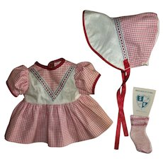 "Vintage Factory 11"" Tiny Tears Gingham Pique Dress & Bonnet Set With Matching Socks  MINT!"