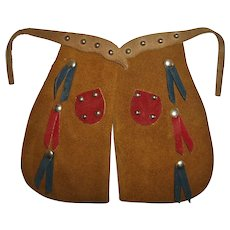 Original Ideal Shirley Temple 1930s Leather Chaps For Cowboy Rangerette Outfit