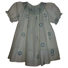 1920s Smocked Dimity Toddler Dress With Embroidered Daisy Wreaths