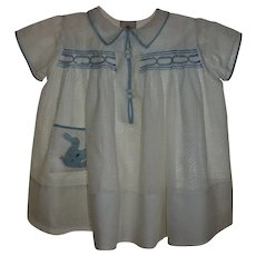 1930s Smocked Dotted Swiss With Bunny Applique Toddler Dress