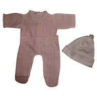 """Mint!  Pink and White Striped Effanbee 13""""Dy-Dee Footed Pajamas With Silky PInk Infant Cap"""