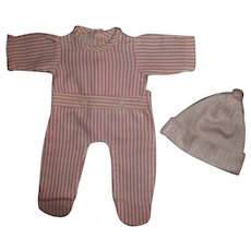 "Mint!  Pink and White Striped Effanbee 13""Dy-Dee Footed Pajamas With Silky PInk Infant Cap"
