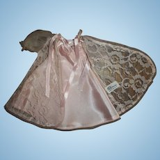 Tagged Ideal Little Miss Revlon Pink Lace and Taffeta Negligee Set