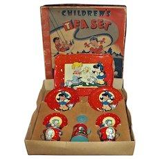 "Vintage Boxed Set Lithographed Tin Ohio Art ""He Loves Me Not"" Tea Set"
