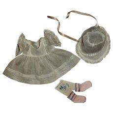 """Effanbee 11"""" Dy-Dee Ellen Original Organdy Dress & Bonnet Set With Socks"""
