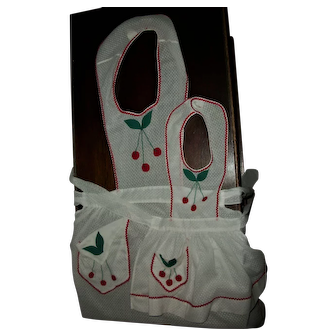 Darling Mother~Daughter Cherry Applique Factory Made Bib Aprons