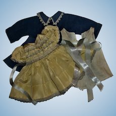 Vintage Early Ideal Saucy Walker Silk Taffeta Fancy Dress, With HTF Double Button Coat, Onsie, Hair Ribbons