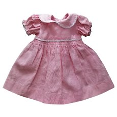 "Factory Vintage  Pretty Pique Dress With Smocking For Hard Plastic Girls or 15"" Baby Dolls"