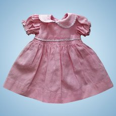 """Factory Vintage  Pretty Pique Dress With Smocking For Hard Plastic Girls or 15"""" Baby Dolls"""