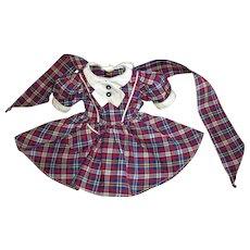 Factory Vintage Plaid School Dress For Hard Plastic Girl Dolls