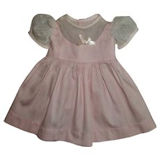 Pink Jumper Style Dress With Lace Net Sleeves and Bodice For Chubby Girl Doll