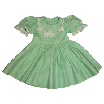 Factory Dress For Large Chubby Toddler/Girl Dolls Green Pique With Eyelet Trim