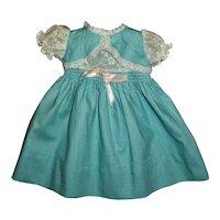 "Factory Vintage Pique Bolero Dress With Smocking Fits Hard Plastic Girls or 15"" Baby Dolls"