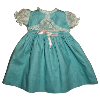 "Factory Vintage Pique Bolero Dress With Smocking Fits Hard Plastic Girls or 15"" Baby Dolls"