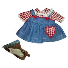 "Factory Vintage Cute Denim and Gingham Jumper Style Dress With Socks For American Character 11"" Tiny Tears"