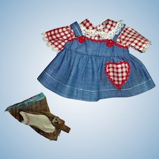"""Factory Vintage Cute Denim and Gingham Jumper Style Dress With Socks For American Character 11"""" Tiny Tears"""