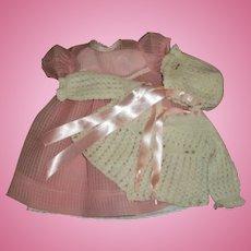 """Effanbee 20"""" Dy-Dee Lou Mint Organdy Windowpane Dress With Darling Rosebud Crochet Sweater Bonnet Set"""